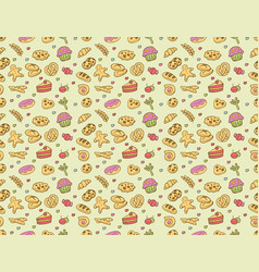 seamless bakery pastry pattern vector image