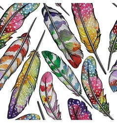Seamless pattern with abstract colorful feathers vector