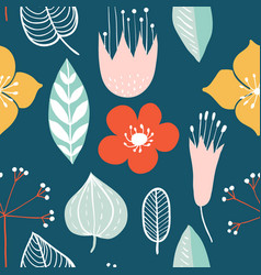 seamless pattern with colorful hand drawn flowers vector image