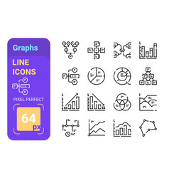 set 64px graphs simple lines icons finance vector image