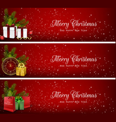 Set of christmas banners with gift boxesbag and c vector