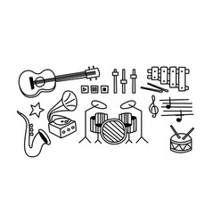 set of musical instruments player buttons and vector image