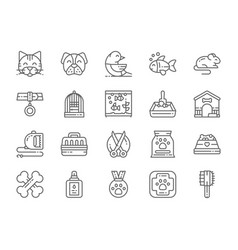 set pet shop line icons cat dog bird parrot vector image