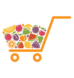 shopping cart with fruit vector image