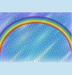 sky with rainbow and rain vector image