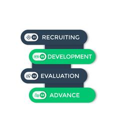 Staff hr employee development 1 2 3 4 steps vector