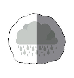 Sticker monochrome cumulus cloud with raindrops vector