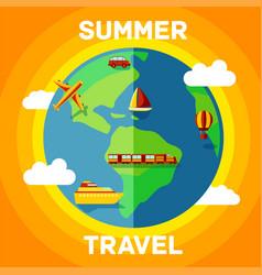 summer with travel around globe vector image