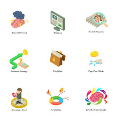 Teambuilding icons set isometric style vector