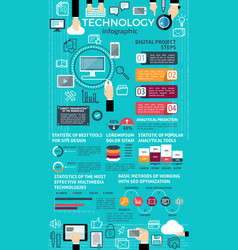technology infographic design with graph and chart vector image