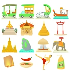 Thailand travel icons set cartoon style vector image
