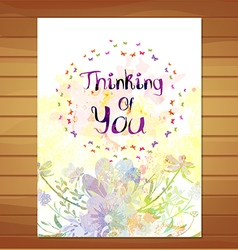 Thinking of you card Watercolor flower background vector image