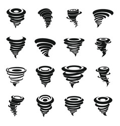 Tornado icons set simple style vector