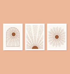 Triptych boho sun minimalist mid century modern vector