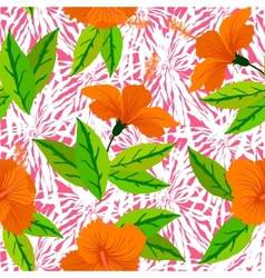 Tropical pattern with orange hibiscus flowers vector