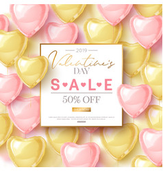 Valentines day sale design with pink and gold vector