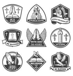 vintage monochrome religious labels set vector image