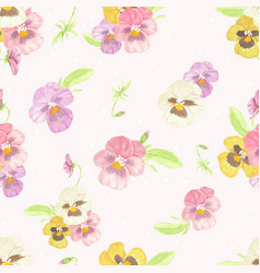 watercolor pansy flower seamless pattern on dot vector image