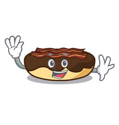 Waving maple bacon bar character cartoon vector