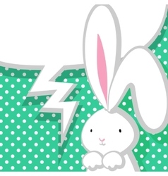 White cute rabbit aquamarine comic bubble vector