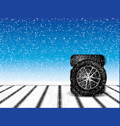 winter wheels vector image