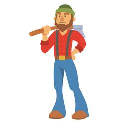 Woodcutter bearded lumberjack character vector