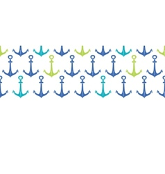 Anchors blue and green hoizontal seamless pattern vector image
