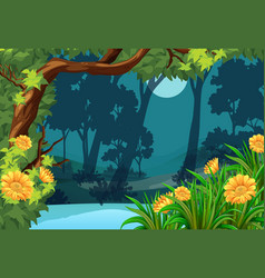 forest scene with flowers and moon vector image vector image