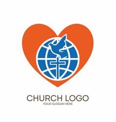globe cross dove and heart vector image