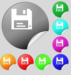 floppy icon sign Set of eight multi-colored round vector image