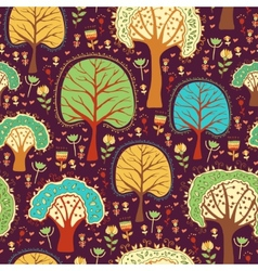 Forest wallpaper with cartoon trees vector image