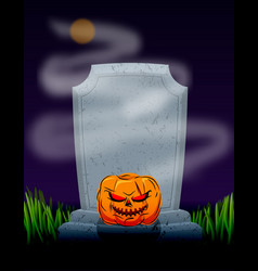 grave in cemetery at night tombstone and spooky vector image