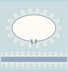 oval doily frame with lacy border country style vector image