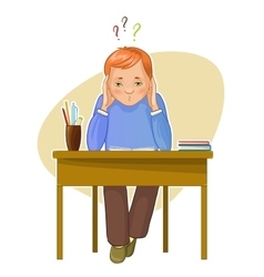 Perplexed boy during studying sitting at the desk vector image