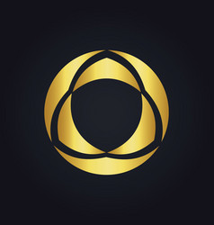 round geometry beauty decoration gold logo vector image
