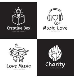 set of minimalistic doodle logos Sketch vector image