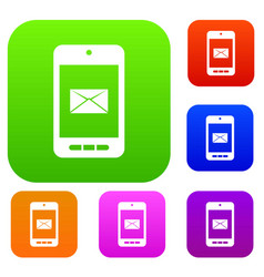 smartphone with email symbol on the screen set vector image vector image