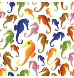 various color seahorses icons set seamless pattern vector image vector image