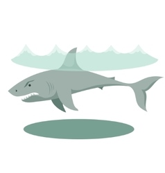 a large gray cartoon shark with vector image vector image