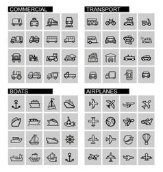 black transport icons set vector image vector image