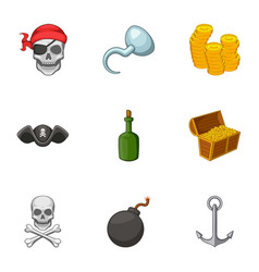 pirate symbolism icons set cartoon style vector image vector image