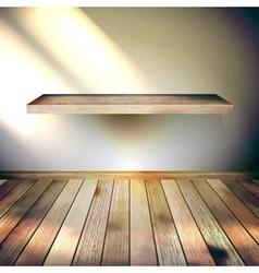 Beige Blue wall with lights wooden floor EPS 10 vector image vector image