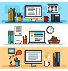 Designer workspace flat design concept vector image vector image