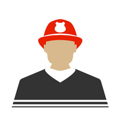 Firefighter flat icon protect and serve label vector