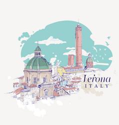 freehand digital drawing of verona italy vector image vector image