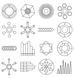 Infographic items icons set outline style vector image