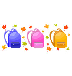 school bags set autumn leaves decor vector image