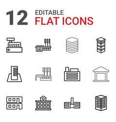 12 buildings icons vector