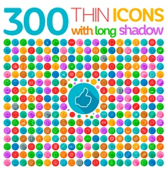 300 Thin Icons With Long Shadow vector image