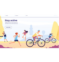active lifestyle landing people cycling fitness vector image